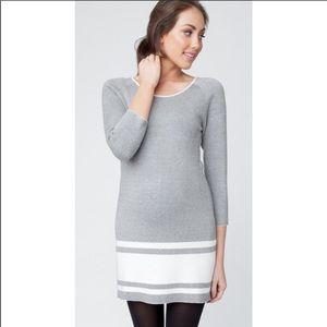 Ripe Maternity Long Sleeve Knit Sweater Dress Gray